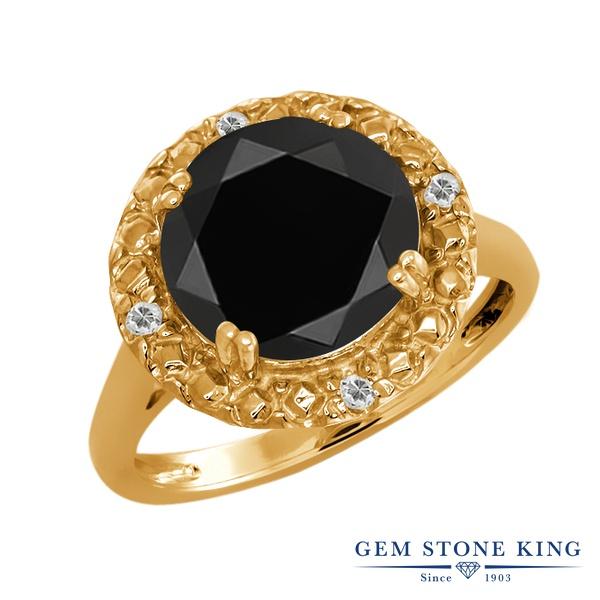 Gem Stone King 3.05カラット 天然ブラックオニキス 天然トパーズ(無色透明) シルバー925(純銀) 指輪 リング レディース 大粒 ソリティア 天然石 誕生石 金属アレルギー対応 誕生日プレゼント