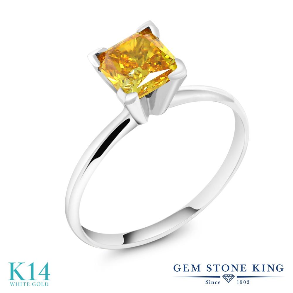 カラット 指輪 リング レディース 14金 ホワイトゴールド K14 派手な黄色 ダイヤ 大粒 一粒 シンプル ソリティア 4月 誕生石 婚約指輪 エンゲージリング