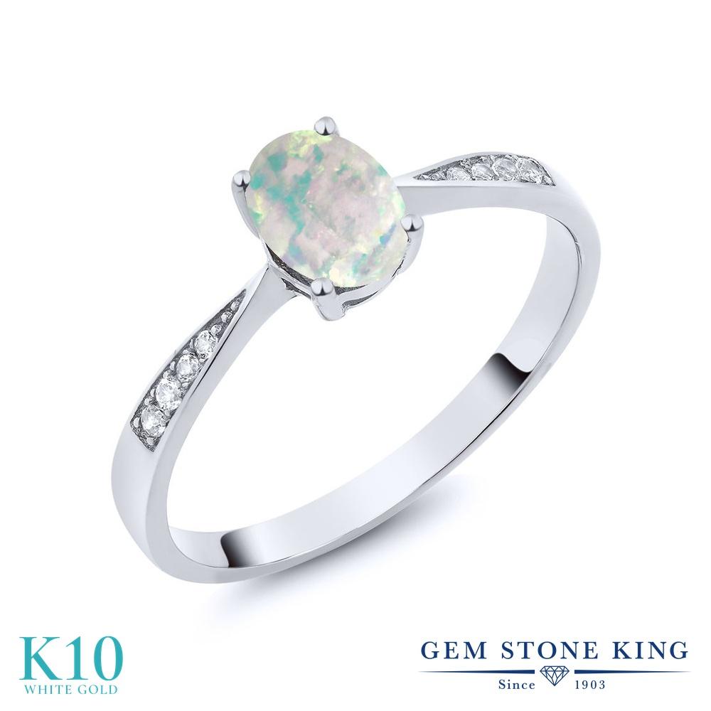 Gem Stone King 0.69カラット シミュレイテッド ホワイトオパール 天然 ダイヤモンド 10金 ホワイトゴールド(K10) 指輪 リング レディース ソリティア 10月 誕生石 金属アレルギー対応 誕生日プレゼント