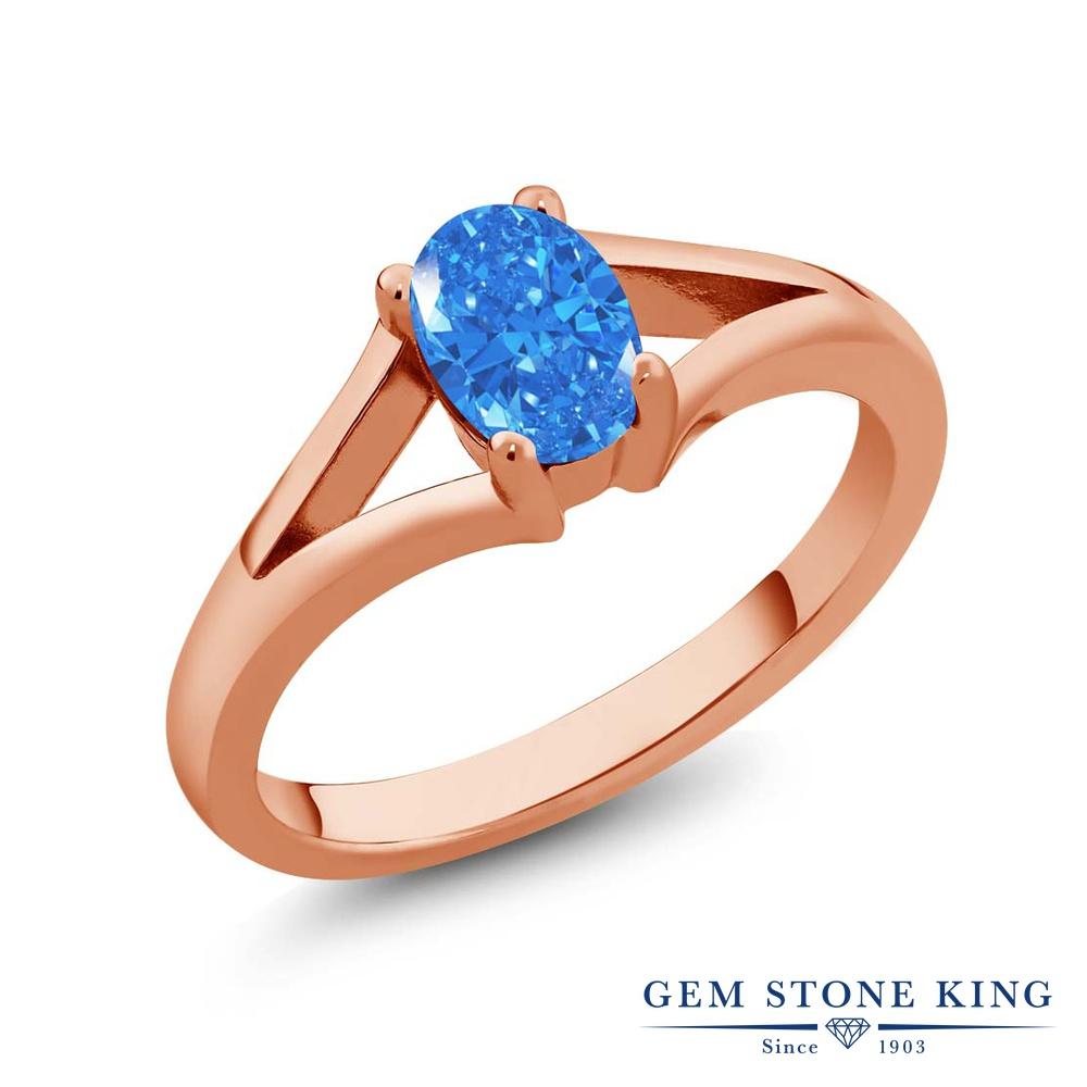 Gem Stone King スワロフスキージルコニア(ファンシーブルー) シルバー 925 ローズゴールドコーティング 指輪 リング レディース CZ 一粒 シンプル ソリティア 金属アレルギー対応 誕生日プレゼント