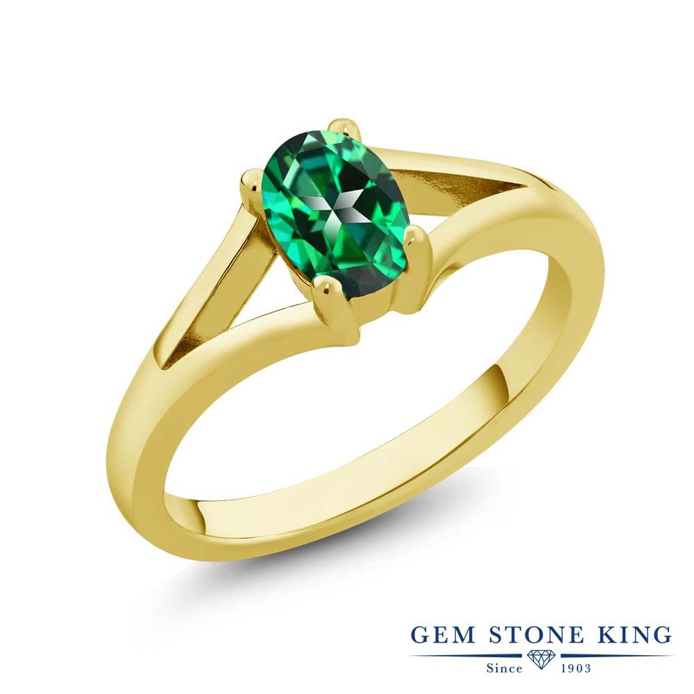 Gem Stone King 1カラット 天然石 トパーズ レインフォレスト (スワロフスキー 天然石) 指輪 リング レディース シルバー925 イエローゴールド 加工 大粒 一粒 シンプル ソリティア 金属アレルギー対応