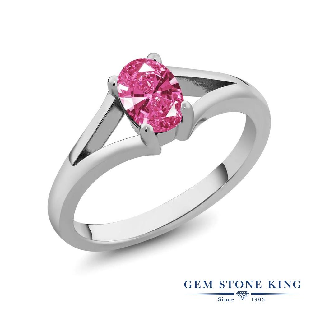 スワロフスキージルコニア (ピンク) 指輪 リング レディース シルバー925 CZ 一粒 シンプル ソリティア 金属アレルギー対応