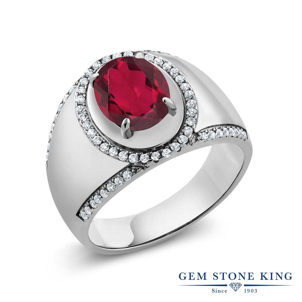 Gem Stone King 3.49カラット 天然ミスティッククォーツ(ルビーレッド) シルバー925 指輪 リング レディース 大粒 大ぶり ヘイロー 天然石 金属アレルギー対応 誕生日プレゼント