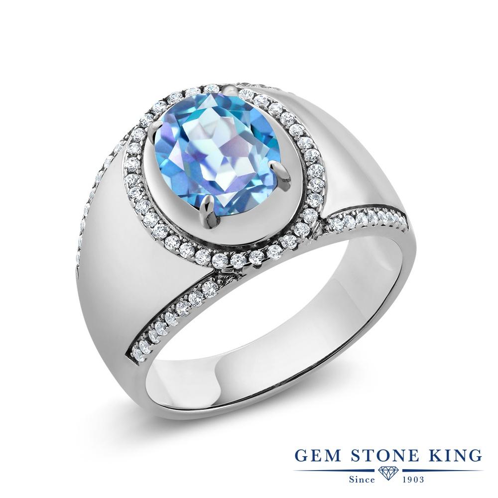 Gem Stone King 3.49カラット 天然ミスティッククォーツ(ミレニアムブルー) シルバー925 指輪 リング レディース 大粒 大ぶり ヘイロー 天然石 金属アレルギー対応 誕生日プレゼント