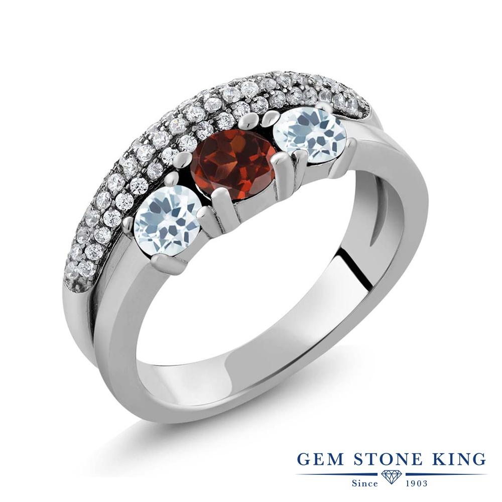 Gem Stone King 1.70カラット 天然ガーネット 天然アクアマリン シルバー925 指輪 リング レディース スリーストーン 天然石 誕生石 金属アレルギー対応 誕生日プレゼント