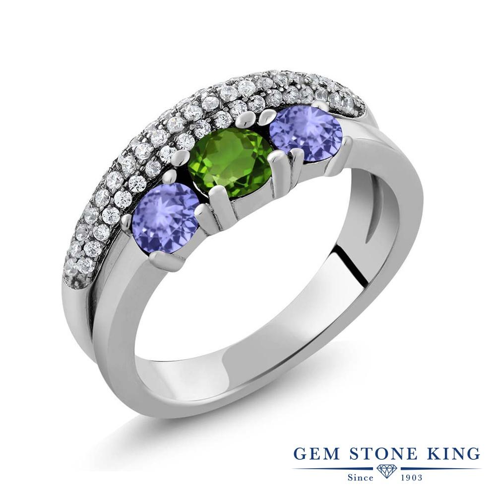 Gem Stone King 1.81カラット 天然 クロムダイオプサイド 天然石 タンザナイト 指輪 リング レディース シルバー925 小粒 スリーストーン 金属アレルギー対応