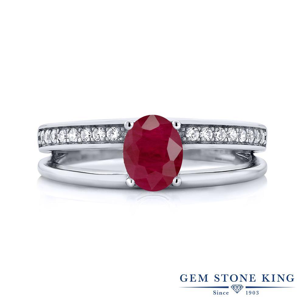 【10%OFF】 Gem Stone King 1.18カラット 天然 ルビー 指輪 リング レディース シルバー925 大粒 バンド 天然石 7月 誕生石 クリスマスプレゼント 女性 彼女 妻 誕生日