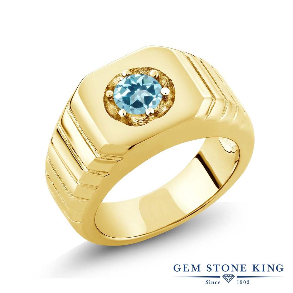 0.62カラット 天然石 アイスブルートパーズ (スワロフスキー 天然石) 指輪 リング レディース シルバー925 イエローゴールド 加工 一粒 シンプル ソリティア 金属アレルギー対応