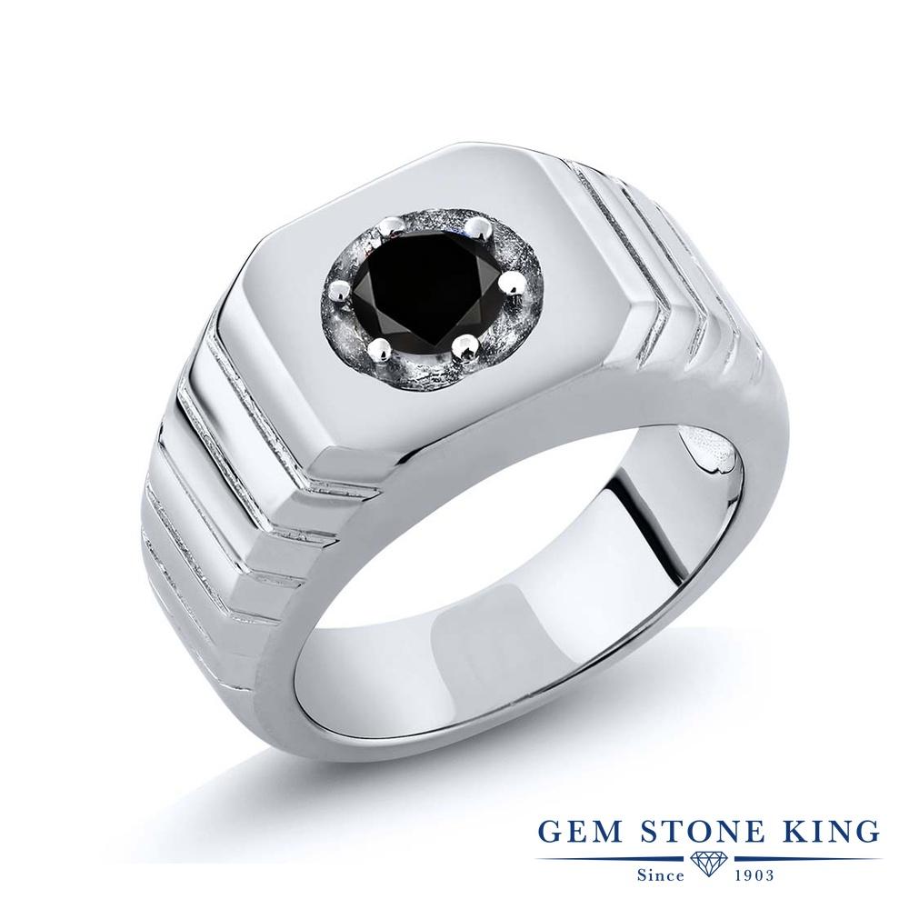 【10%OFF】 Gem Stone King 0.55カラット ブラックダイヤモンド 指輪 リング レディース シルバー925 ブラック ダイヤ 一粒 シンプル ソリティア 天然石 4月 誕生石 クリスマスプレゼント 女性 彼女 妻 誕生日