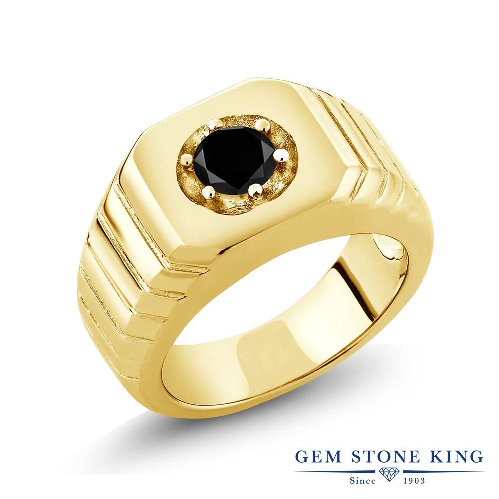 Gem Stone King 0.55カラット 天然ブラックダイヤモンド シルバー925 イエローゴールドコーティング 指輪 リング レディース ブラック ダイヤ 一粒 シンプル ソリティア 天然石 4月 誕生石 金属アレルギー対応 誕生日プレゼント