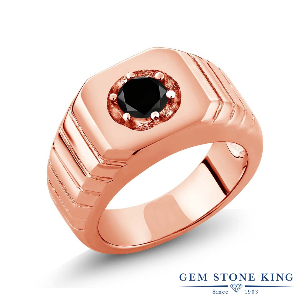Gem Stone King 0.55カラット 天然ブラックダイヤモンド シルバー925 ピンクゴールドコーティング 指輪 リング レディース ブラック ダイヤ 一粒 シンプル ソリティア 天然石 4月 誕生石 金属アレルギー対応 誕生日プレゼント