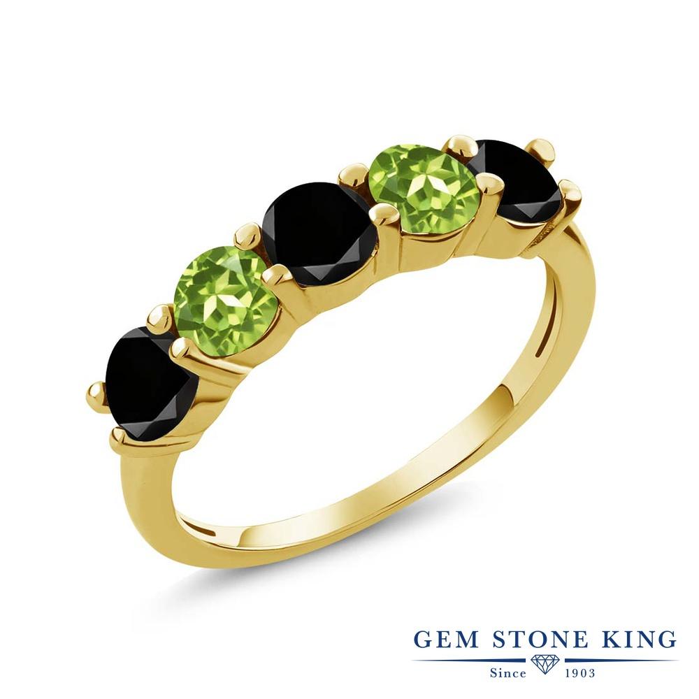Gem Stone King 0.87カラット 天然ブラックダイヤモンド 天然石 ペリドット シルバー925 イエローゴールドコーティング 指輪 リング レディース ブラック ダイヤ 小粒 ハーフエタニティ 4月 誕生石 金属アレルギー対応 結婚指輪 ウェディングバンド