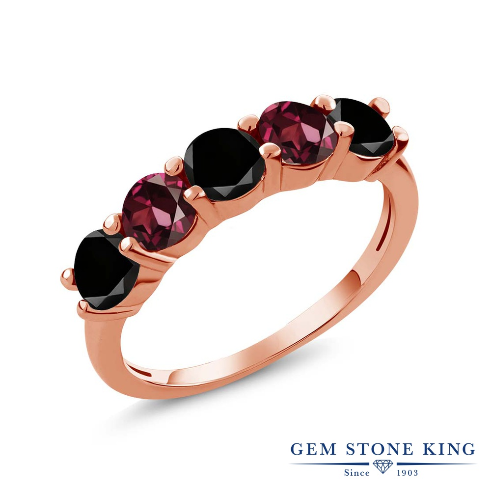 Gem Stone King 0.95カラット 天然ブラックダイヤモンド 天然 ロードライトガーネット シルバー925 ピンクゴールドコーティング 指輪 リング レディース ブラック ダイヤ 小粒 ハーフエタニティ 天然石 4月 誕生石 金属アレルギー対応 結婚指輪 ウェディングバンド