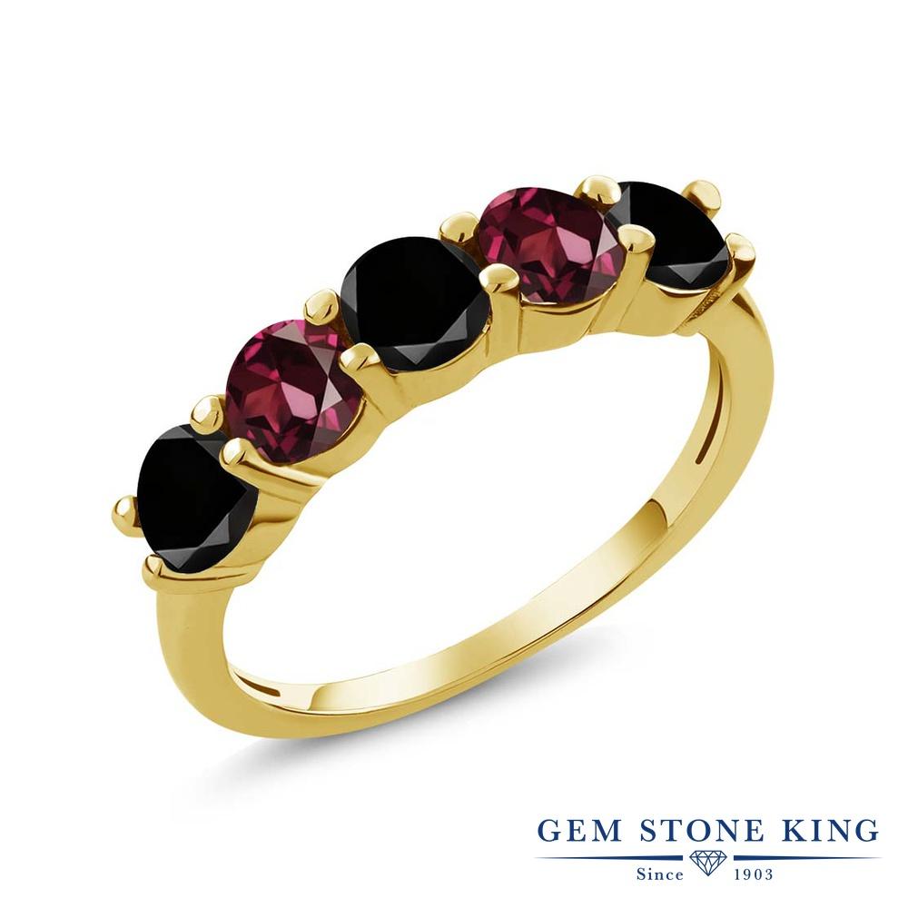 Gem Stone King 0.95カラット 天然ブラックダイヤモンド 天然 ロードライトガーネット シルバー925 イエローゴールドコーティング 指輪 リング レディース ブラック ダイヤ 小粒 ハーフエタニティ 天然石 4月 誕生石 金属アレルギー対応 結婚指輪 ウェディングバンド