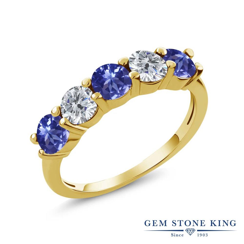 Gem Stone King 0.84カラット 天然石 タンザナイト 天然 ダイヤモンド シルバー925 イエローゴールドコーティング 指輪 リング レディース 小粒 ハーフエタニティ 天然石 12月 誕生石 金属アレルギー対応 結婚指輪 ウェディングバンド