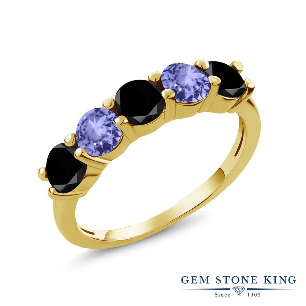 Gem Stone King 0.87カラット 天然ブラックダイヤモンド 天然石 タンザナイト シルバー925 イエローゴールドコーティング 指輪 リング レディース ブラック ダイヤ 小粒 ハーフエタニティ 4月 誕生石 金属アレルギー対応 結婚指輪 ウェディングバンド