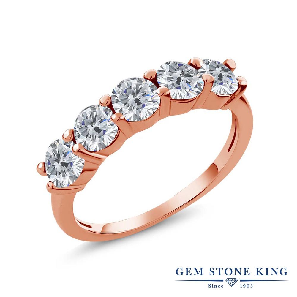 Gem Stone King 0.75カラット 天然 ダイヤモンド シルバー925 ピンクゴールドコーティング 指輪 リング レディース ダイヤ 小粒 ハーフエタニティ 天然石 4月 誕生石 金属アレルギー対応 結婚指輪 ウェディングバンド