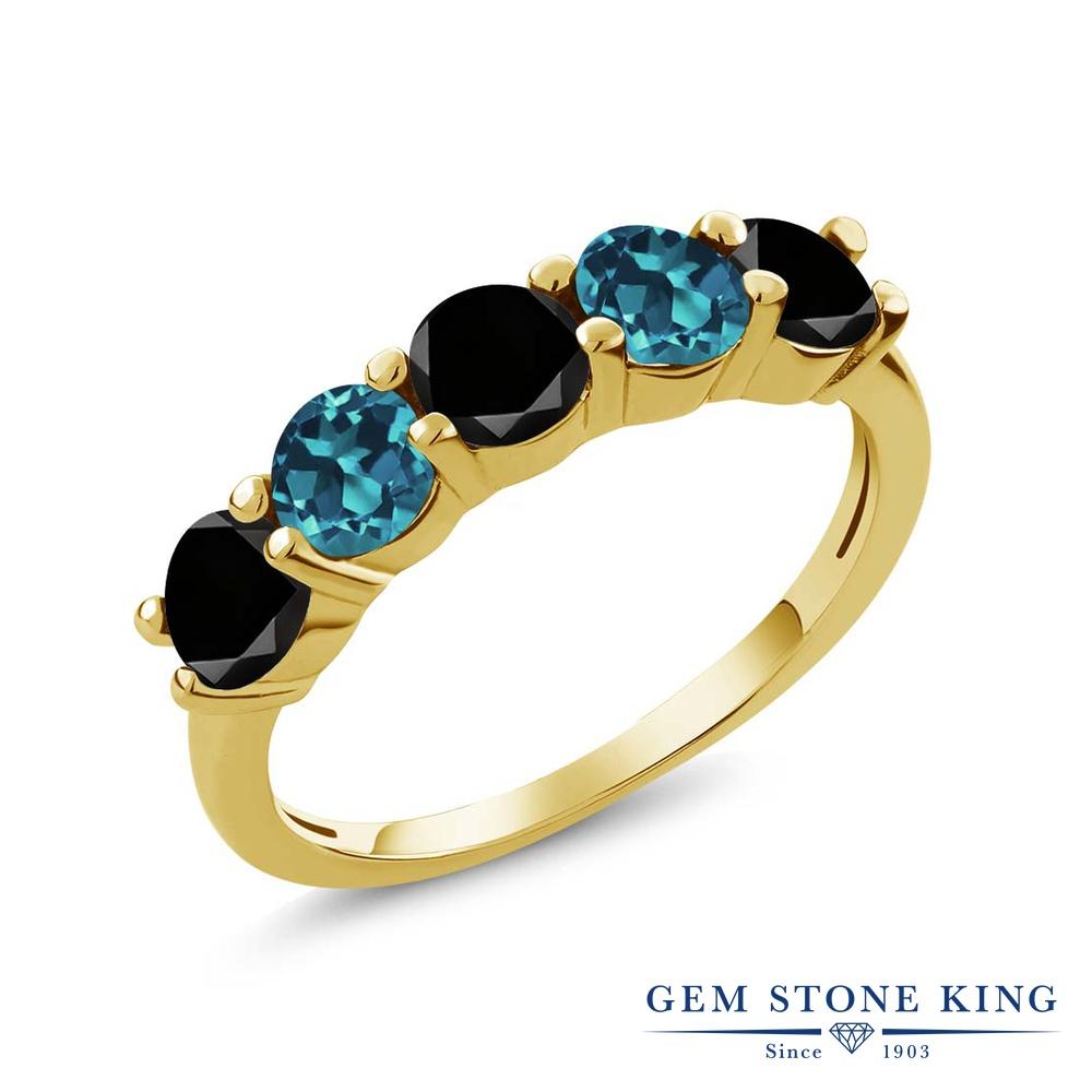 Gem Stone King 0.91カラット 天然ブラックダイヤモンド 天然 ロンドンブルートパーズ シルバー925 イエローゴールドコーティング 指輪 リング レディース ブラック ダイヤ 小粒 ハーフエタニティ 天然石 4月 誕生石 金属アレルギー対応 結婚指輪 ウェディングバンド
