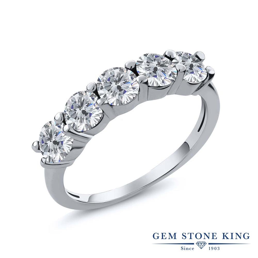 【クーポンで10%OFF】 Gem Stone King 0.75カラット 天然 ダイヤモンド シルバー925 指輪 リング レディース ダイヤ 小粒 ハーフエタニティ 天然石 4月 誕生石 金属アレルギー対応 結婚指輪 ウェディングバンド