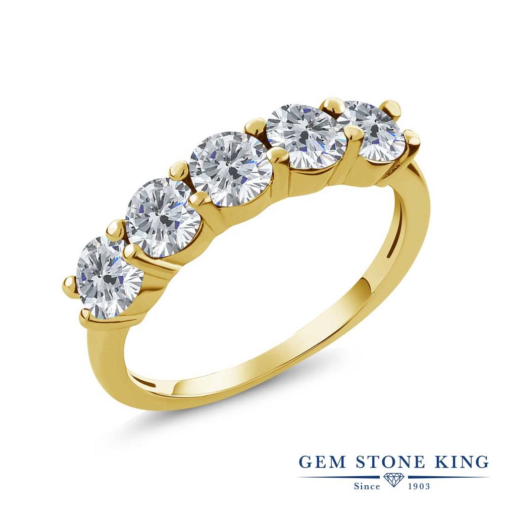 【クーポンで10%OFF】 Gem Stone King 0.75カラット 天然 ダイヤモンド シルバー925 イエローゴールドコーティング 指輪 リング レディース ダイヤ 小粒 ハーフエタニティ 天然石 4月 誕生石 金属アレルギー対応 結婚指輪 ウェディングバンド