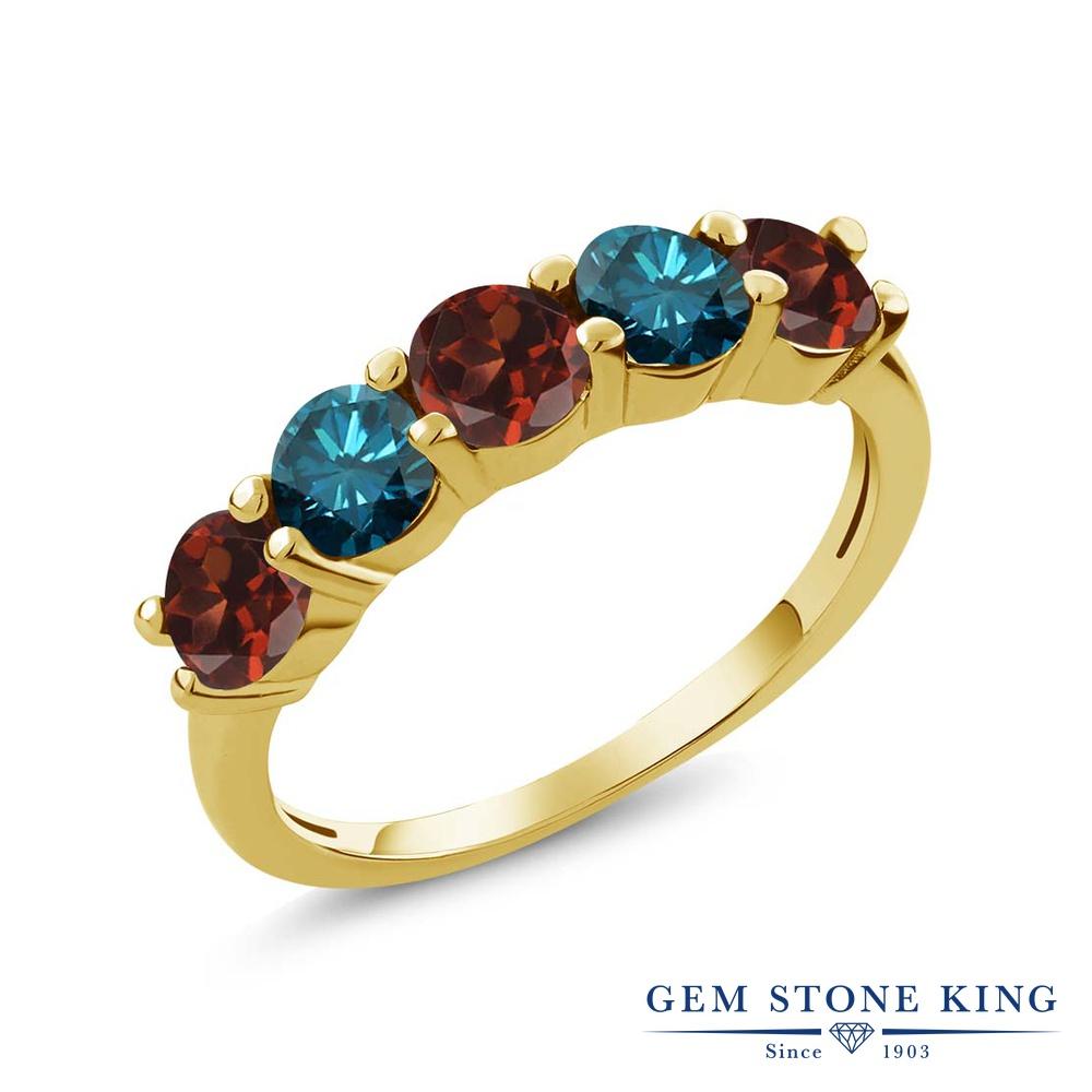Gem Stone King 0.9カラット 天然 ガーネット 天然 ブルーダイヤモンド シルバー925 イエローゴールドコーティング 指輪 リング レディース 小粒 ハーフエタニティ 天然石 1月 誕生石 金属アレルギー対応 結婚指輪 ウェディングバンド