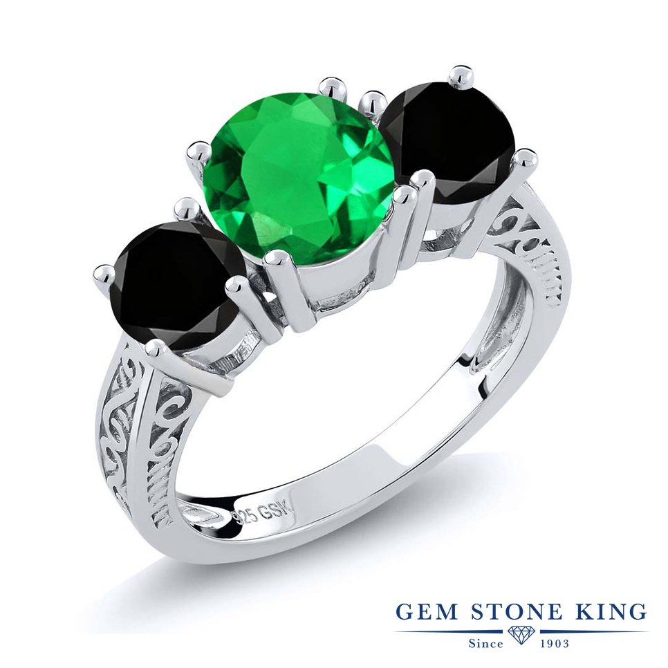 2.32カラット ナノエメラルド 指輪 レディース リング ブラックダイヤモンド シルバー925 ブランド おしゃれ アラベスク 3連 緑 大粒 シンプル スリーストーン プレゼント 女性 彼女 妻 誕生日