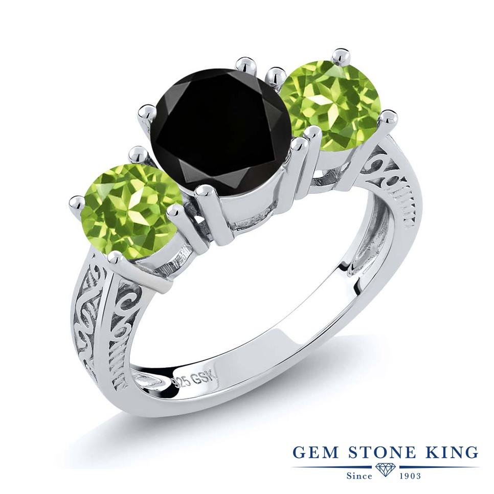 2.35カラット ブラックダイヤモンド 指輪 レディース リング 天然石 ペリドット シルバー925 ブランド おしゃれ アラベスク 3連 ブラック ダイヤ 黒 大粒 シンプル スリーストーン 4月 誕生石 プレゼント 女性 彼女 妻 誕生日