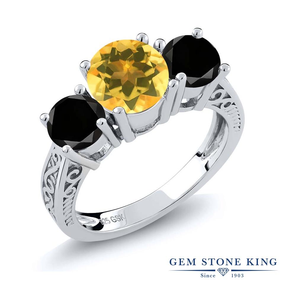 2.4カラット 天然 シトリン 指輪 レディース リング ブラックダイヤモンド シルバー925 ブランド おしゃれ アラベスク 3連 黄色 大粒 シンプル スリーストーン 天然石 11月 誕生石 プレゼント 女性 彼女 妻 誕生日