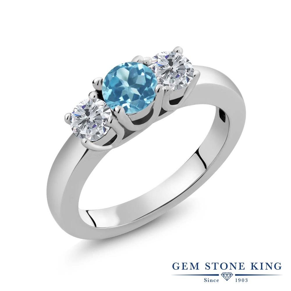 【クーポンで10%OFF】 Gem Stone King 1カラット 天然 スイスブルートパーズ 天然 ダイヤモンド シルバー925 指輪 リング レディース 小粒 シンプル スリーストーン 天然石 11月 誕生石 金属アレルギー対応 誕生日プレゼント