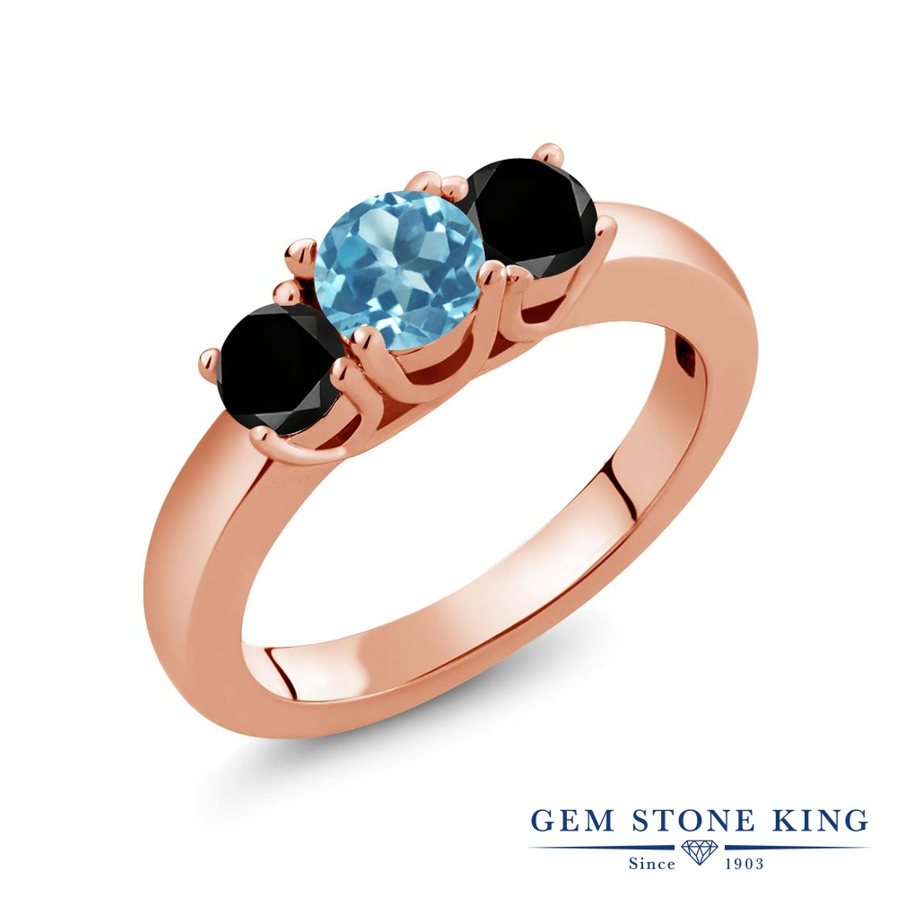 1.04カラット 天然 スイスブルートパーズ 指輪 レディース リング ブラックダイヤモンド ピンクゴールド 加工 シルバー925 ブランド おしゃれ 3連 小粒 シンプル スリーストーン 天然石 11月 誕生石 プレゼント 女性 彼女 妻 誕生日