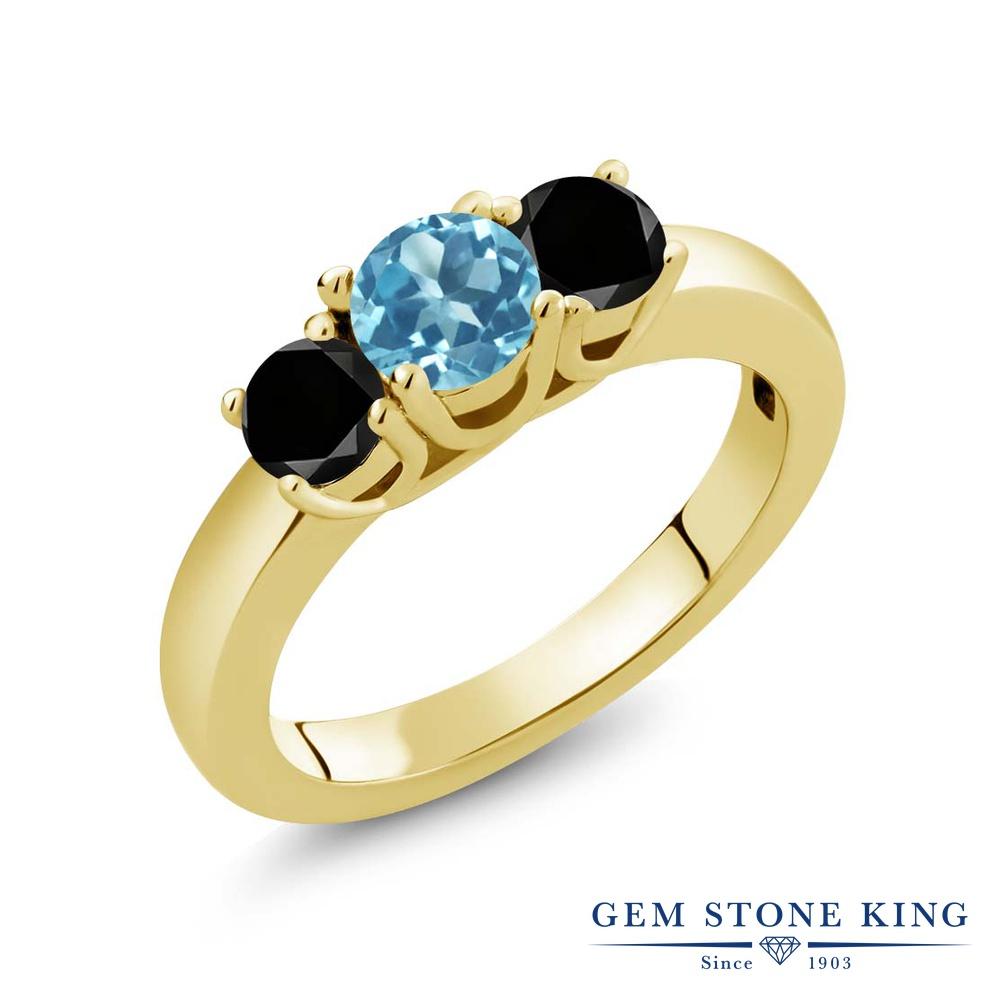 【10%OFF】 Gem Stone King 1.04カラット 天然 スイスブルートパーズ ブラックダイヤモンド 指輪 リング レディース シルバー925 イエローゴールド 加工 小粒 シンプル スリーストーン 天然石 11月 誕生石 クリスマスプレゼント 女性 彼女 妻 誕生日