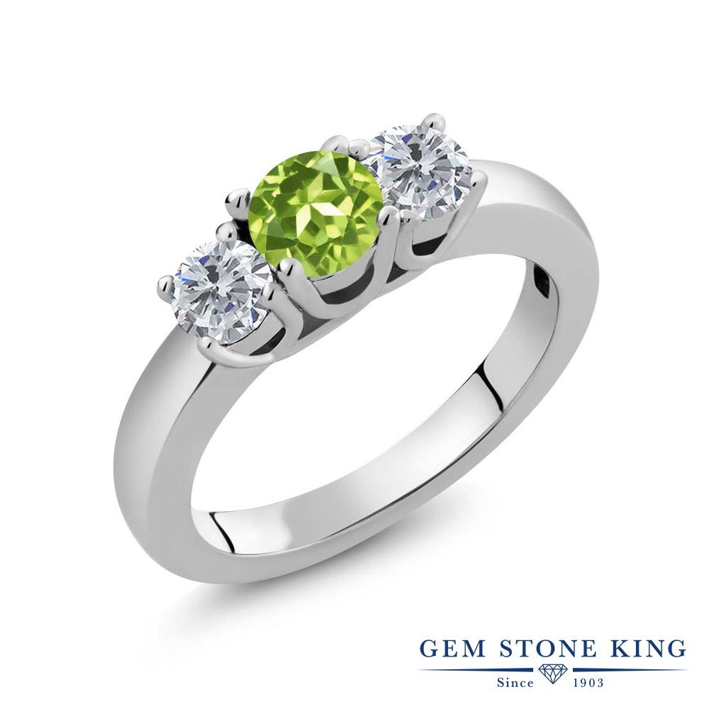 【クーポンで10%OFF】 Gem Stone King 1カラット 天然石 ペリドット 天然 ダイヤモンド シルバー925 指輪 リング レディース 小粒 シンプル スリーストーン 天然石 8月 誕生石 金属アレルギー対応 誕生日プレゼント