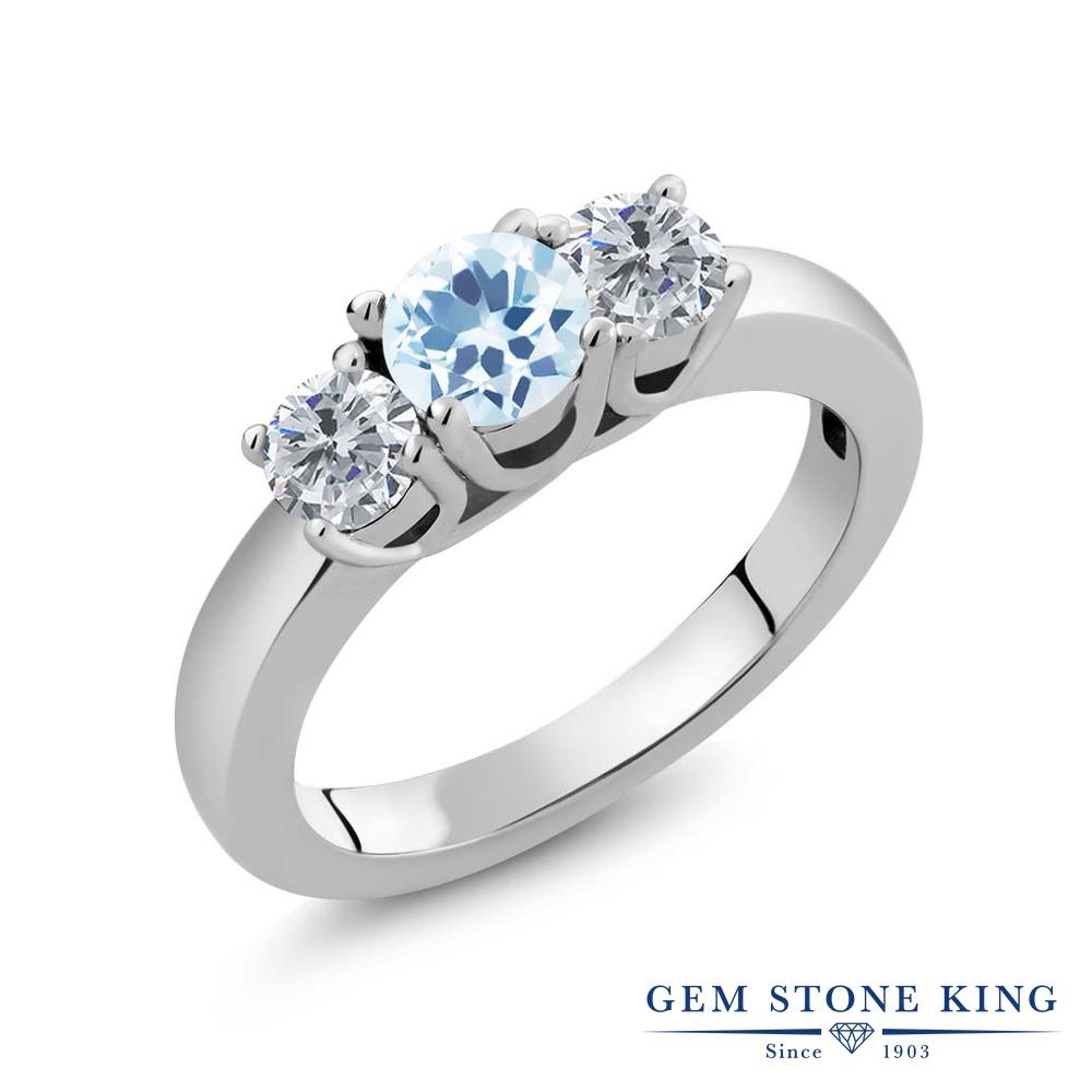 【クーポンで10%OFF】 Gem Stone King 1カラット 天然 スカイブルートパーズ 天然 ダイヤモンド シルバー925 指輪 リング レディース 小粒 シンプル スリーストーン 天然石 11月 誕生石 金属アレルギー対応 誕生日プレゼント