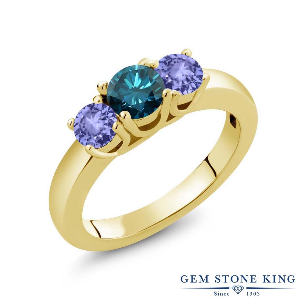 Gem Stone King 1.15カラット 天然 ブルーダイヤモンド 天然石 タンザナイト シルバー925 イエローゴールドコーティング 指輪 リング レディース ブルー ダイヤ シンプル スリーストーン 4月 誕生石 金属アレルギー対応 誕生日プレゼント