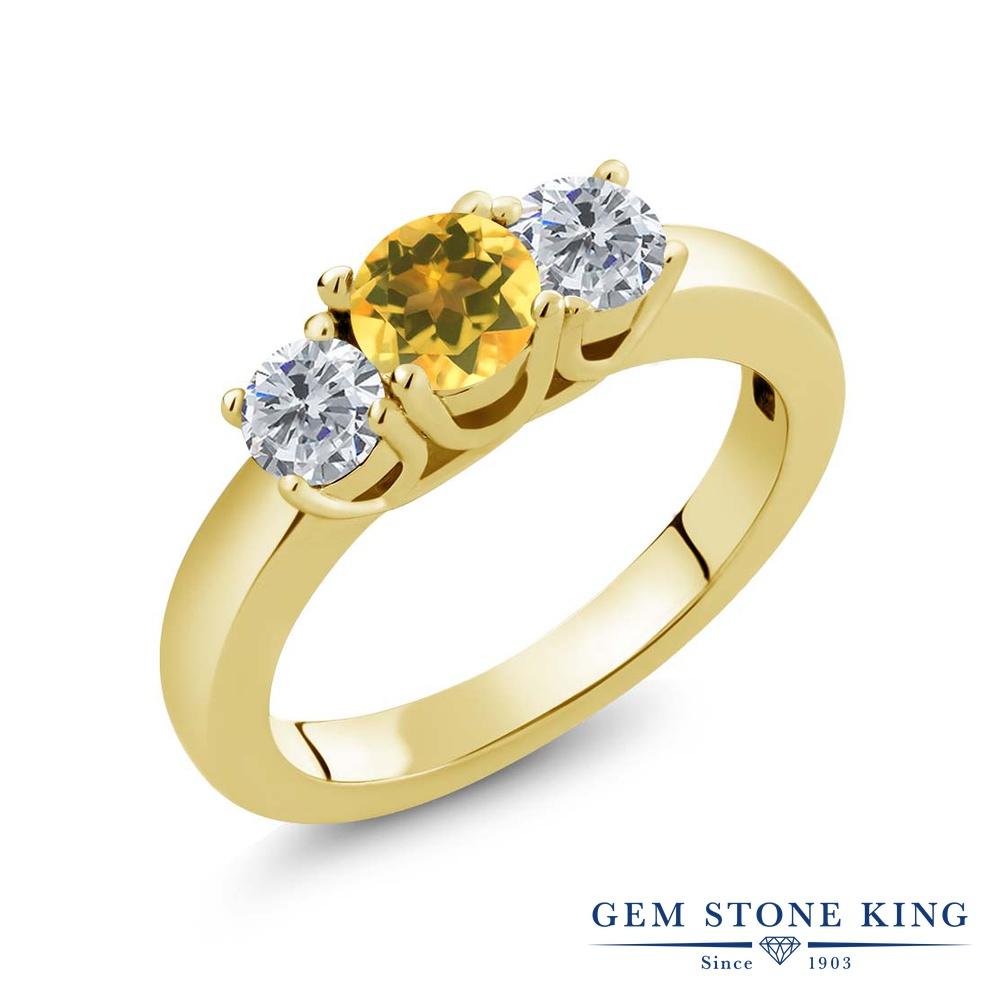 0.95カラット 天然 シトリン 指輪 レディース リング ダイヤモンド イエローゴールド 加工 シルバー925 ブランド おしゃれ 3連 黄色 小粒 シンプル スリーストーン 天然石 11月 誕生石 プレゼント 女性 彼女 妻 誕生日