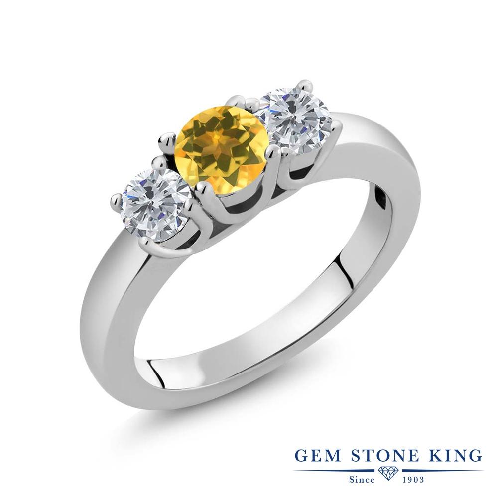 【クーポンで10%OFF】 Gem Stone King 0.95カラット 天然 シトリン 天然 ダイヤモンド シルバー925 指輪 リング レディース 小粒 シンプル スリーストーン 天然石 11月 誕生石 金属アレルギー対応 誕生日プレゼント