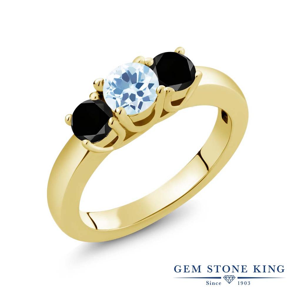 【10%OFF】 Gem Stone King 1.04カラット 天然 スカイブルートパーズ ブラックダイヤモンド 指輪 リング レディース シルバー925 イエローゴールド 加工 小粒 シンプル スリーストーン 天然石 11月 誕生石 クリスマスプレゼント 女性 彼女 妻 誕生日