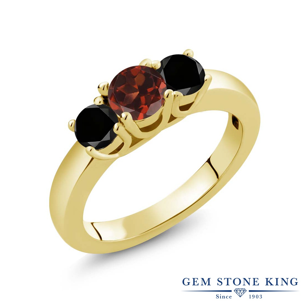 Gem Stone King 1.09カラット 天然 ガーネット 天然ブラックダイヤモンド シルバー925 イエローゴールドコーティング 指輪 リング レディース シンプル スリーストーン 天然石 1月 誕生石 金属アレルギー対応 誕生日プレゼント