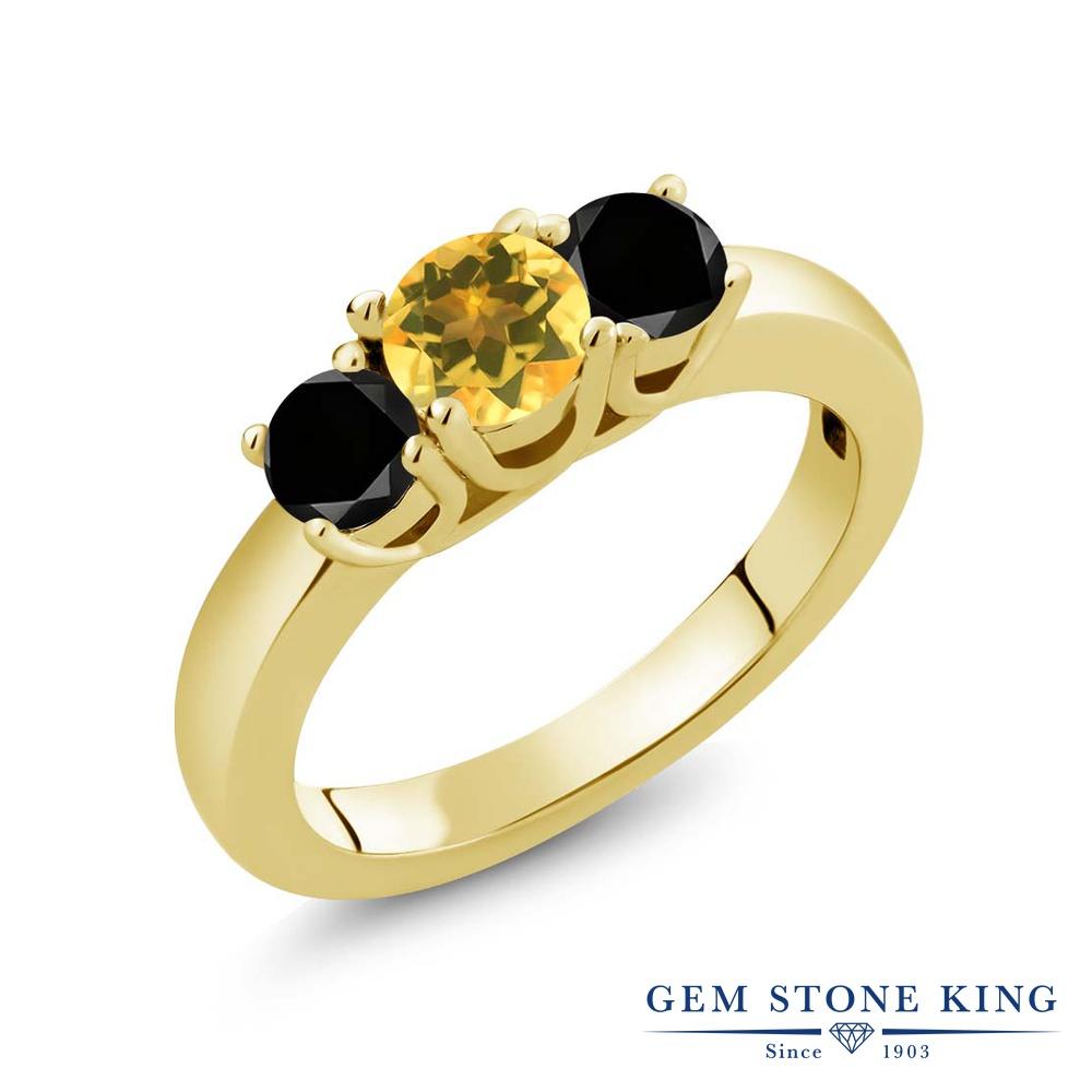 Gem Stone King 0.99カラット 天然 シトリン 天然ブラックダイヤモンド シルバー925 イエローゴールドコーティング 指輪 リング レディース 小粒 シンプル スリーストーン 天然石 11月 誕生石 金属アレルギー対応 誕生日プレゼント