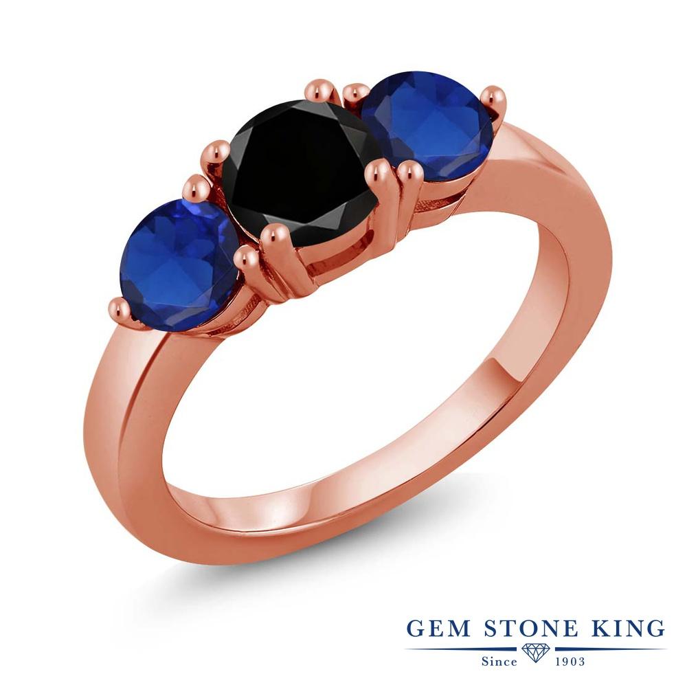 Gem Stone King 2.25カラット 天然ブラックダイヤモンド シミュレイテッドサファイア シルバー 925 ローズゴールドコーティング 指輪 リング レディース 大粒 シンプル 天然石 誕生石 誕生日プレゼント