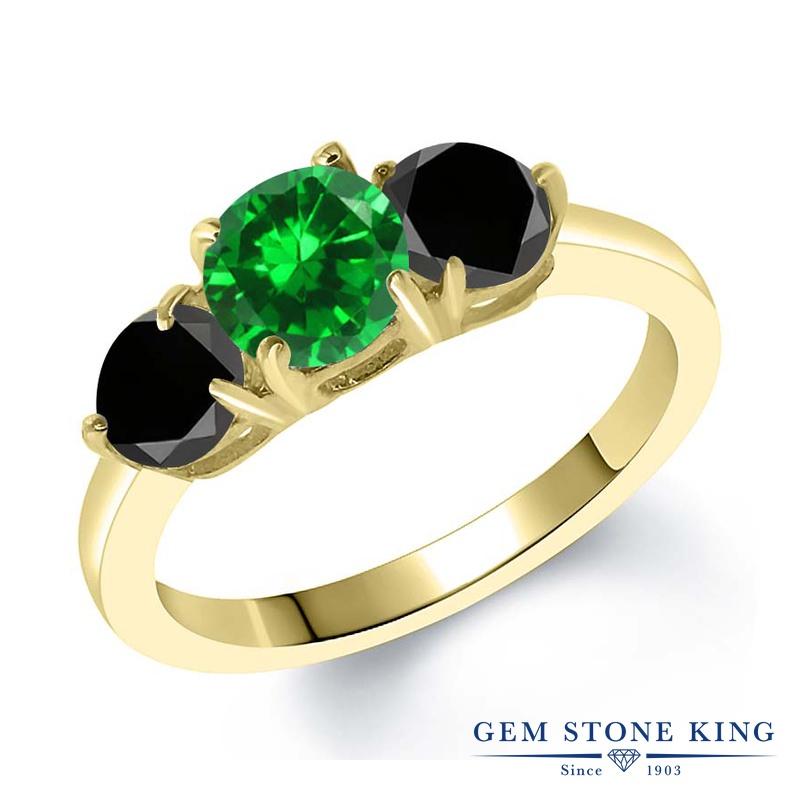 2.6カラット ナノエメラルド 指輪 レディース リング ブラックダイヤモンド イエローゴールド 加工 シルバー925 ブランド おしゃれ 3連 緑 大粒 シンプル スリーストーン プレゼント 女性 彼女 妻 誕生日