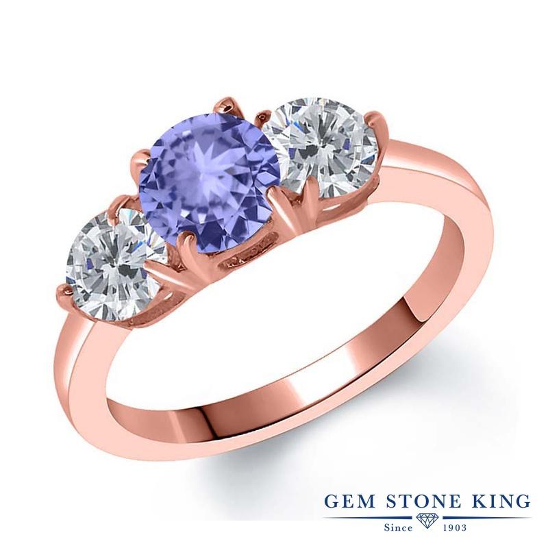 Gem Stone King 1.9カラット 天然石 タンザナイト 天然 ダイヤモンド シルバー925 ピンクゴールドコーティング 指輪 リング レディース シンプル スリーストーン 天然石 12月 誕生石 金属アレルギー対応 誕生日プレゼント