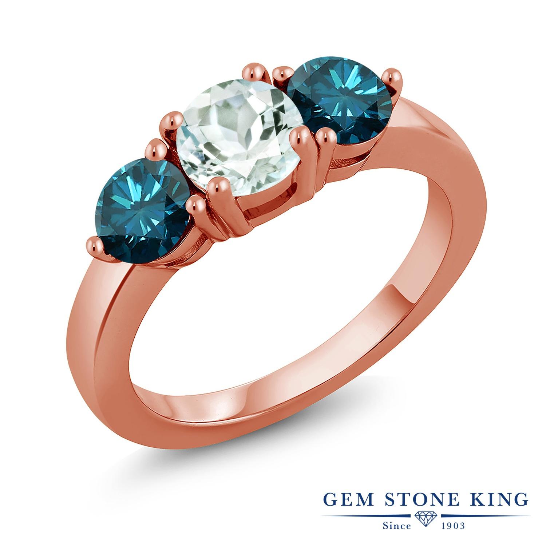 1.85カラット 天然 アクアマリン ブルーダイヤモンド 指輪 リング レディース シルバー925 ピンクゴールド 加工 シンプル スリーストーン 天然石 3月 誕生石 プレゼント 女性 彼女 妻 誕生日