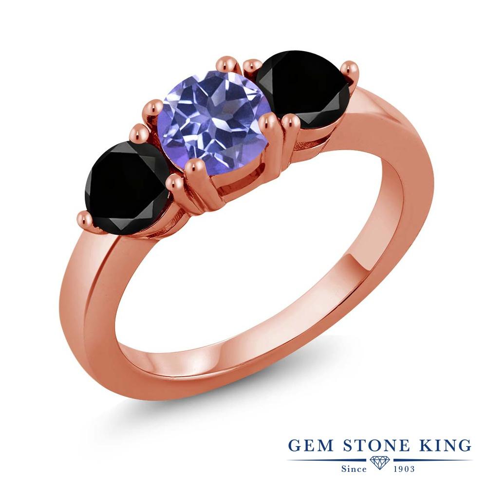 Gem Stone King 2.10カラット 天然ミスティックトパーズ(タンザナイトブルー) シルバー 925 ローズゴールドコーティング 天然ブラックダイヤモンド 指輪 リング レディース 大粒 シンプル 天然石 誕生日プレゼント