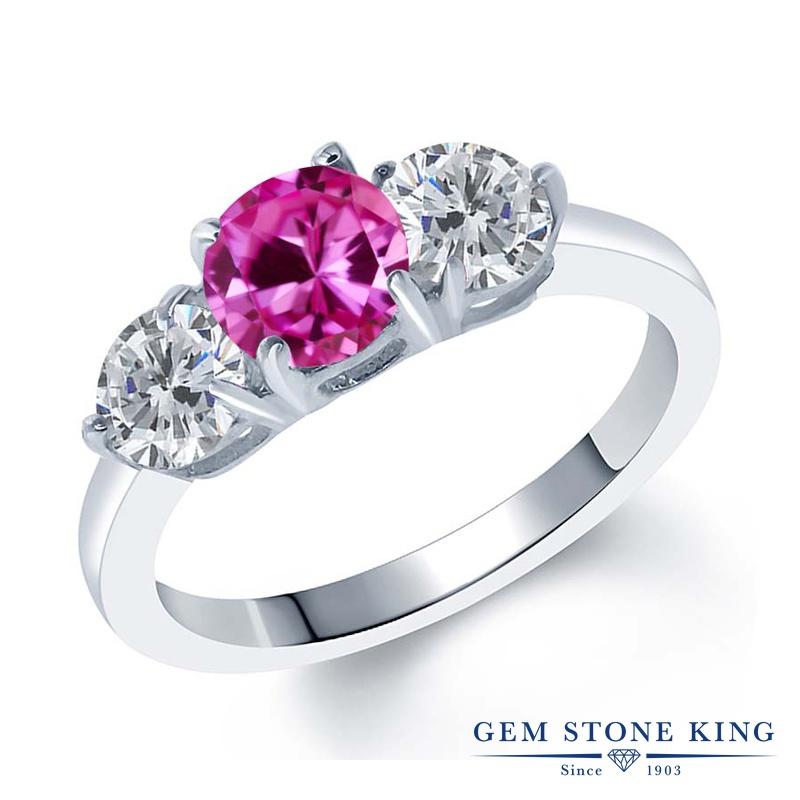 Gem Stone King 2カラット 合成ピンクサファイア 天然 ダイヤモンド シルバー925 指輪 リング レディース 大粒 シンプル スリーストーン 金属アレルギー対応 誕生日プレゼント
