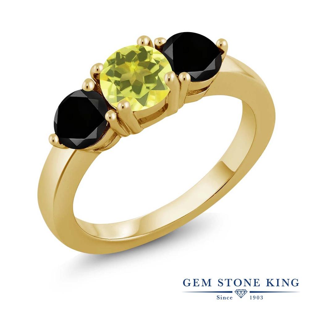 Gem Stone King 2.10カラット 天然石 ミスティックトパーズ(イエロー) シルバー 925 イエローゴールドコーティング 天然ブラックダイヤモンド 指輪 リング レディース 大粒 シンプル 天然石 誕生日プレゼント