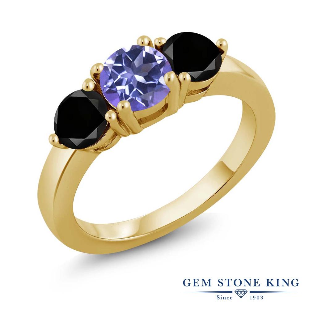 Gem Stone King 2.10カラット 天然ミスティックトパーズ(タンザナイトブルー) シルバー 925 イエローゴールドコーティング 天然ブラックダイヤモンド 指輪 リング レディース 大粒 シンプル 天然石 誕生日プレゼント