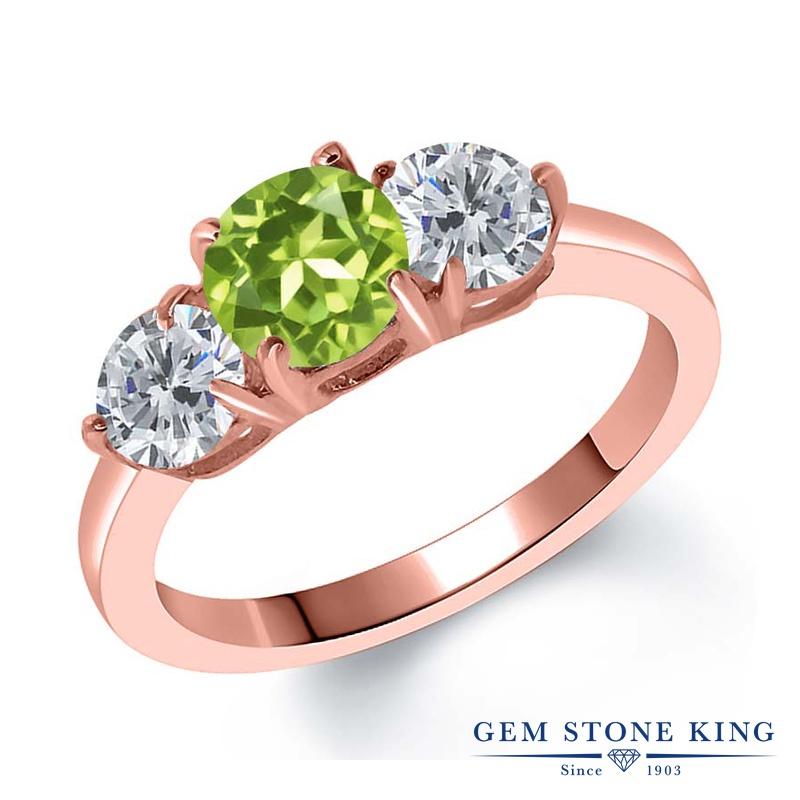 Gem Stone King 1.9カラット 天然石 ペリドット 天然 ダイヤモンド シルバー925 ピンクゴールドコーティング 指輪 リング レディース シンプル スリーストーン 天然石 8月 誕生石 金属アレルギー対応 誕生日プレゼント