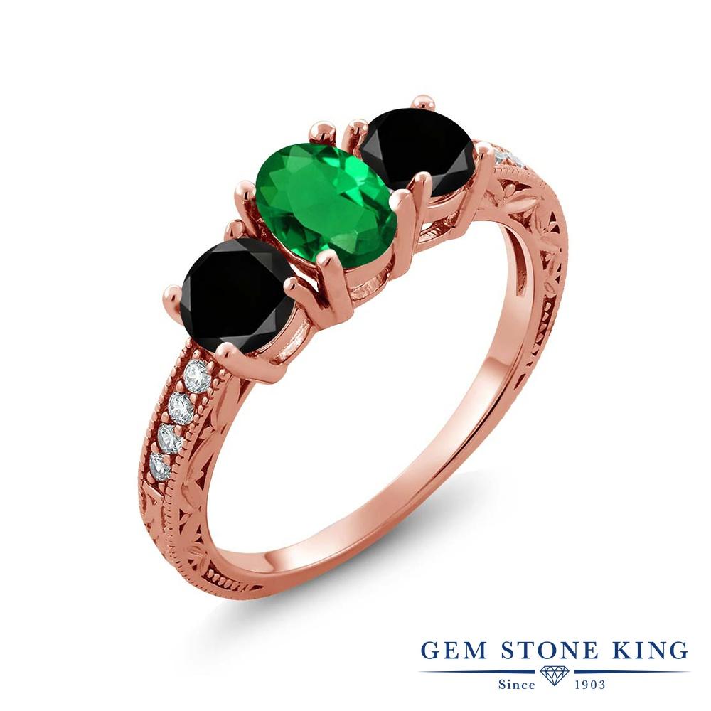 Gem Stone King 1.82カラット ナノエメラルド 天然ブラックダイヤモンド シルバー925 ピンクゴールドコーティング 指輪 リング レディース スリーストーン 金属アレルギー対応 誕生日プレゼント
