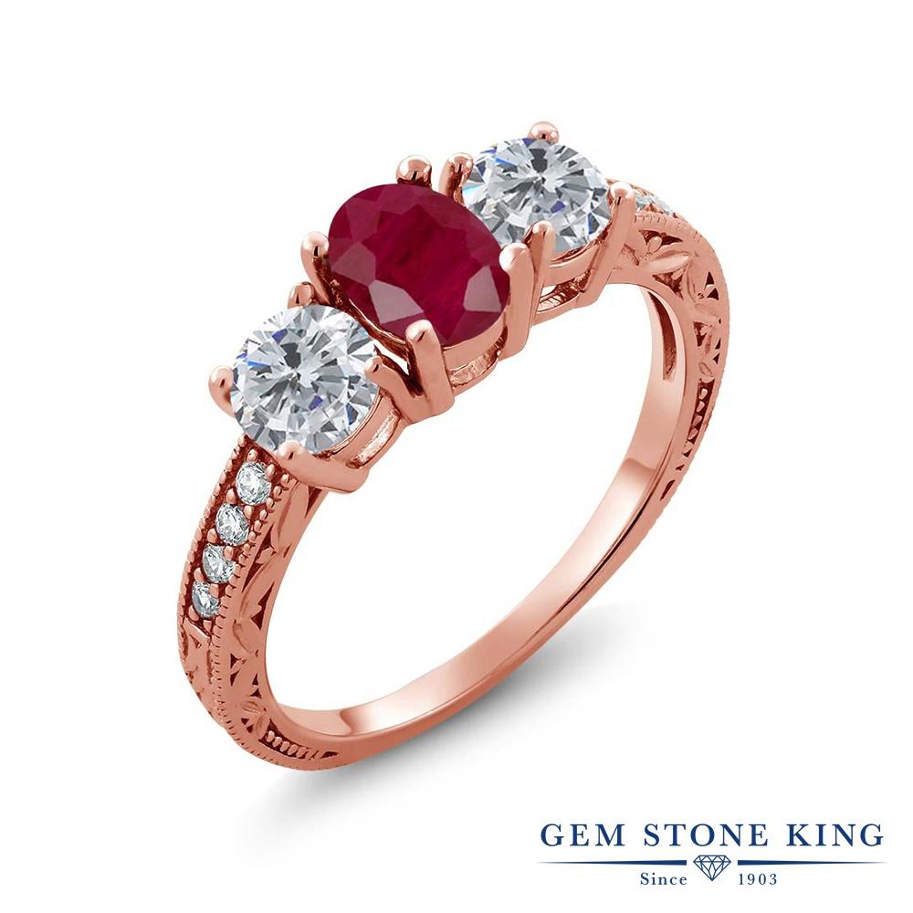 Gem Stone King 2.14カラット 天然 ルビー 天然 ダイヤモンド シルバー925 ピンクゴールドコーティング 指輪 リング レディース 大粒 スリーストーン 天然石 7月 誕生石 金属アレルギー対応 誕生日プレゼント